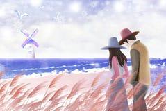 Paare schlendern den Strand in der Winterlandschaft - grafische Malereibeschaffenheit Stockfotos