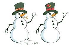 Paare Schneemänner Stockfotografie