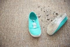 Paare Schuhe mit Schlamm lizenzfreie stockfotografie