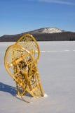 Paare Snowshoes im Schnee Stockfotografie