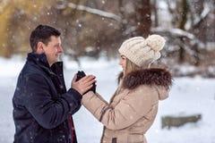 Paare spielerisch zusammen während der Winterurlaubferien draußen lizenzfreie stockbilder