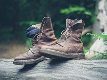 Paare Stiefel im Wald Stockbild