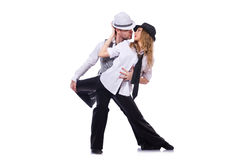 Paare Tänzer, die den modernen Tanz lokalisiert tanzen Stockfotografie
