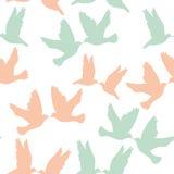 Paare Tauben auf einem weißen Hintergrund Nahtlos pattren Pastellc Stockbild