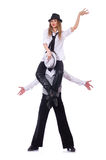 Paare Tänzer, die den modernen Tanz lokalisiert tanzen Lizenzfreies Stockfoto