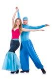 Paare Tänzer, die den modernen Tanz lokalisiert tanzen Stockfotos
