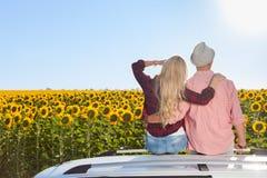 Paare umfassen sitzenden Autodachsonnenblumen-Feldsonnenaufgang lizenzfreies stockbild