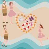 Paare und Freund genießen Sommervektorstrand-Ferienansicht von der Spitze Stockfotografie
