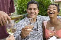Paare und Freunde, die mit Wein feiern Lizenzfreies Stockbild