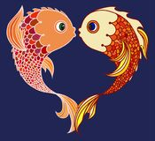 Paare von den Goldfischen lokalisiert lizenzfreie abbildung