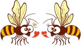 Paare von den schönen Bienen, die über Liebe sich besprechen Lizenzfreie Stockbilder