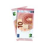 Paare von 10 Eurobanknoten auf Weiß Lizenzfreies Stockfoto