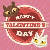 Paare von In-geliebten Kätzchen im Valentinstag-Aufkleber, Vektor-Illustration Lizenzfreies Stockbild