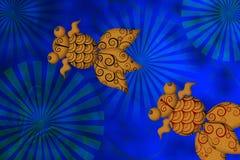 Paare von Goldfish mit Lilien-Auflage Stockbild