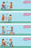 Paare von Leuten im Café Vector Illustration mit den Freundmännern und -frauen, die an den Tischen sitzen Stockbilder