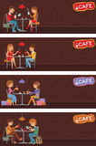 Paare von Leuten im Café Vektor-Illustration mit Freundmännern und -frauen Stockfotos