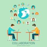 Paare von Männern mit Laptops im flachen Teamwork-Konzept des Vektors Lizenzfreies Stockfoto