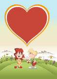 Paare von netten Karikaturkindern in der Liebe Stockfotos