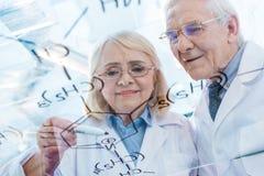 Paare von Wissenschaftlern in den weißen Mänteln, die mit chemischer Formel arbeiten Lizenzfreie Stockfotos
