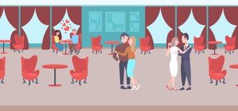 Paare, welche zusammen die Mannfrauenliebhaber feiern festlich bewirtende Luxusinnenhalle des modernen Restaurants des Ereignisko lizenzfreie abbildung