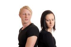 Paare widersprechen zurück auf rückseitiger Nahaufnahme Stockfoto