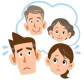 Paare, zum sich um Eltern zu sorgen stock abbildung