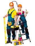 Paarerbauer mit Bauwerkzeugen. Stockbilder