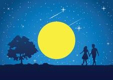Paargang bij volle maannacht rond met ster vector illustratie