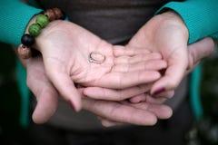 Paarholding-Verlobungsring Stockfoto