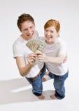 Paarholdinggruppe von Zwanzig Dollarscheinen Lizenzfreie Stockfotografie