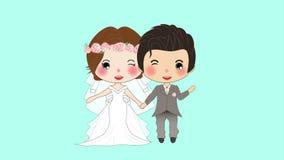 Paarhuwelijk Leuke Vrouw in Bruidkleding en Man in Bruidegom Tuxedo op het Groen Scherm stock video