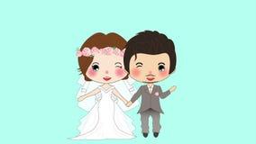 Paarhuwelijk Leuke Vrouw in Bruidkleding en Snorman in Bruidegom Tuxedo op het Blauw Scherm, een geanimeerde vrouw en een man stock footage