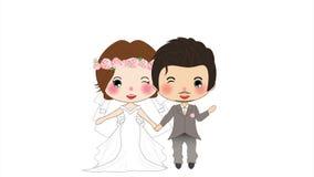 Paarhuwelijk Leuke Vrouw in Bruidkleding en Snorman in Bruidegom Tuxedo op het Wit Scherm, een geanimeerde vrouw en een man stock footage