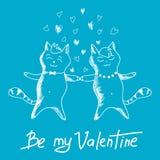 Paarkatzen am Valentinstag Lizenzfreies Stockfoto