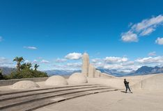 Tourist taking photos at the Afrikaans Language Monument royalty free stock photos