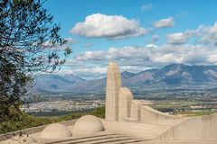 Part of the Afrikaans Language Monument with Paarl visible stock photo