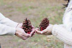 Paarliebe, die Weihnachtsjahreszeit feiernd stockfoto