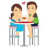 Paarliefde die Zelfde Glas drinken stock illustratie
