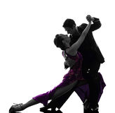Paarman de dansers die van de vrouwenbalzaal silhouet tangoing Stock Foto