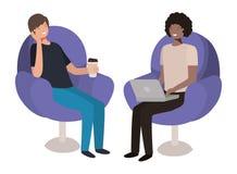 Paarmensen in banken met laptop royalty-vrije illustratie