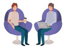 Paarmensen in banken met laptop vector illustratie