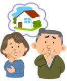 Paaroverleg die op middelbare leeftijd zich over huisvesting ongerust maken vector illustratie