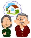 Paaroverleg die op middelbare leeftijd zich over huisvesting ongerust maken stock illustratie