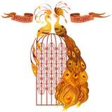 Paarpauwen Gouden, oranje en geel ontwerp Geïsoleerde Stock Afbeeldingen
