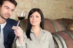 Paarprobierenwein lizenzfreies stockfoto