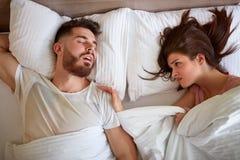 Paarprobleem met het snurken royalty-vrije stock foto