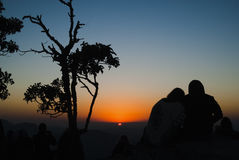 Paarsilhouet bij zonsopgang in Brazilië Stock Foto