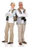 Paartouristenaufstellung Stockbild