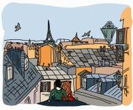 Paarzitting op het dak in Parijs Stock Afbeelding