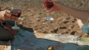 Paarzitting op strand, avondpicknick het drinken wijn met fruit stock videobeelden